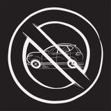 禁令汽车 在学校黑板的白色白垩绘的汽车 ?? ?? ?? ?? r 向量例证