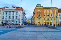 禁令Jelacic广场在萨格勒布 库存照片