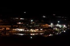 禁令Rak Thail在晚上村庄是一美丽的反射poo 库存图片