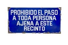 禁止侵入的西班牙标志 免版税库存图片
