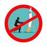 禁止抽烟在咖啡馆 禁令抽烟 红色标志和横渡的c 免版税库存照片