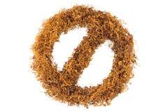 禁止标志由烟草制成 库存照片