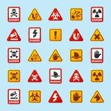 禁止标志设置了产业生产传染媒介黄色红色警告危险标志禁止的安全信息和 库存图片