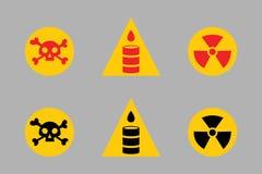 禁止标志设置了石油工业生产传染媒介黄色红色警告危险标志禁止的安全信息和 图库摄影