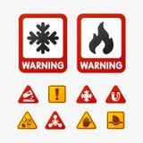 禁止标志设置了石油工业生产传染媒介黄色红色警告危险标志禁止的安全信息和 免版税库存图片