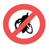 禁止的标志 剪影在禁止红色圈子的飞行昆虫 在白色背景隔绝的禁令标志 r 皇族释放例证