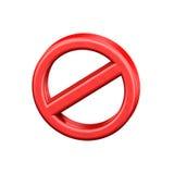 禁止签到在白色背景隔绝的三维 免版税库存图片