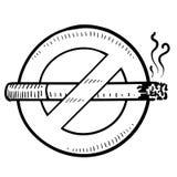 禁烟的符号草图 库存照片