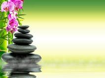 禅宗与绿色竹子的玄武岩石头在水 黑色概念花温泉向毛巾健康扔石头 库存照片