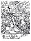 禅宗乱画复活节在白色的风景黑色 免版税库存照片