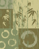 禅宗圈子和竹子葡萄酒绿色背景 皇族释放例证