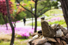 禅宗平衡的岩石在美丽的公园 库存图片