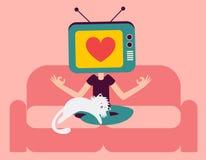 禅宗电视思考在有猫的沙发的头人 免版税图库摄影