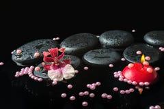 禅宗石头温泉静物画与下落的,兰花cambria花 免版税库存照片