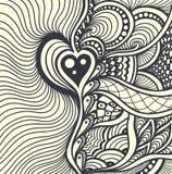 禅宗缠结或禅宗乱画抽象无缝的样式背景黑色白色 库存照片