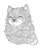 禅宗艺术猫 在zentangle样式的手拉的蓬松猫画象成人着色页的 禅宗乱画 免版税库存照片