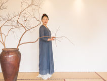 禅宗茶的禅宗凝思这艺术性的构想 库存图片