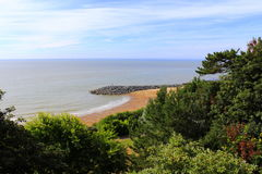 福克斯通海滩风景视图肯特英国 库存照片