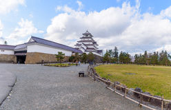 福岛,日本- 4月15,2016 :敦贺城堡surrou全景  免版税库存图片