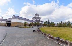 福岛,日本- 4月15,2016 :敦贺城堡surrou全景  库存图片