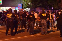 福格逊射击抗议在奥克兰加州 库存图片