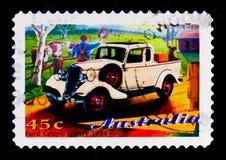 福特小轿车公共事业1934模型,澳大利亚` s经典汽车serie,大约1997年 库存图片