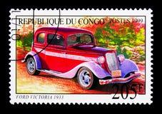 福特维多利亚1933年,老汽车serie,大约1999年 免版税库存图片