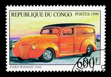 福特Woodie 1940年,老汽车serie,大约1999年 免版税库存图片