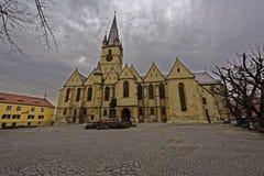 福音派大教堂锡比乌罗马尼亚 库存图片