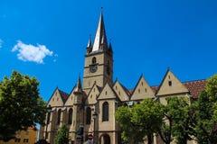 福音派大教堂-锡比乌,罗马尼亚 库存图片