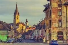福音派教会,锡比乌,罗马尼亚 免版税库存图片