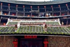 福建内部地球的城堡,在中国的南部的特色住所 免版税图库摄影