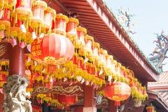 福建,中国- 2015年12月28日:在Tianhou宫殿(天狮后屿的灯笼 库存图片