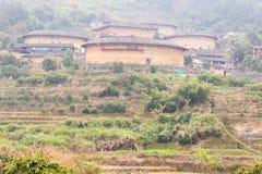 福建,中国- 2016年1月03日:Tianlo的南靖田螺坑土楼群 图库摄影