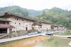 福建,中国- 2016年1月02日:Tianloukeng的Tulou Taxia村庄 免版税库存照片