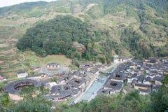 福建,中国- 2016年1月02日:Tianloukeng的Tulou Taxia村庄 免版税图库摄影
