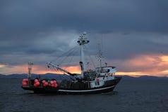离去风雨如磐fishboat的晚上 免版税库存图片