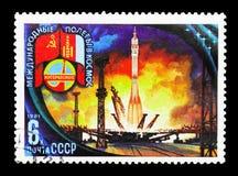 离地升空,贝康诺基地,苏维埃蒙古人空间飞行serie, ci 库存照片