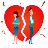 离婚 争论冲突有家室的人孕妇 破坏关系 已婚夫妇男人和妇女恼怒和哀伤反对伤心 动画片characte 图库摄影
