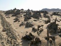 离开下午的撒哈拉大沙漠。 免版税库存照片