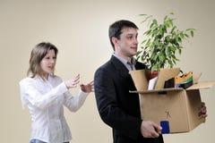 离开人推进白色的经理办公室 免版税图库摄影