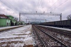 离开在距离的铁路 库存图片