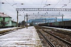 离开在距离的铁路 库存照片