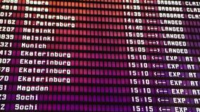 离开委员会在机场 电子飞行信息时间表 董事会启运拍动机械已分解 股票视频