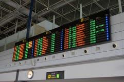 离开委员会在费埃特文图拉岛机场 免版税库存照片
