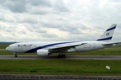 离开的以色列飞机的图片从巴黎 图库摄影