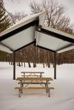 离开的木野餐桌和长凳在雪 免版税库存照片