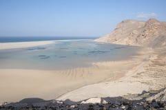 离开的海滩。 索科特拉岛 免版税库存图片