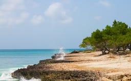 离开的海滩 与岩石的海滩 免版税库存图片