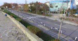 离开的海边大道在波摩莱,保加利亚 免版税图库摄影